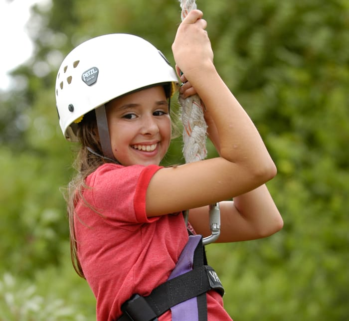 Girl on zipline
