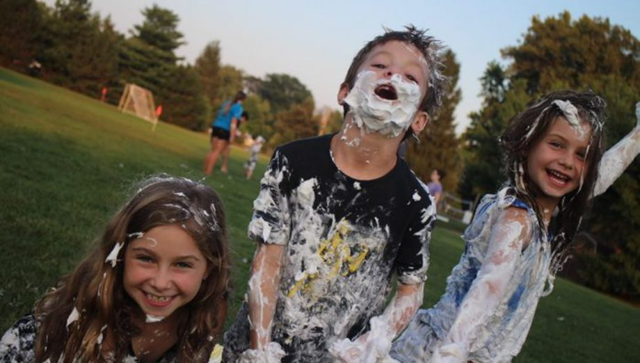 Shaving cream party at Family Camp